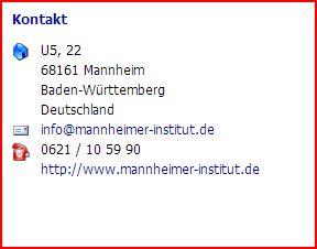 Mannheimer Institut Kontakt 160306